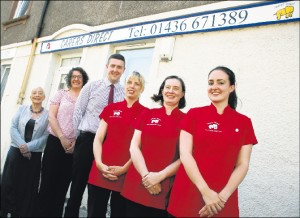 A recent photo of the staff outside our Helensburgh office.