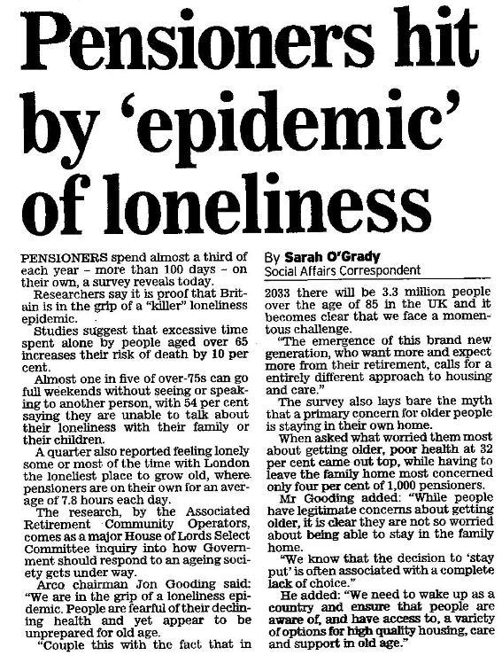 Loneliness 'Epidemic'